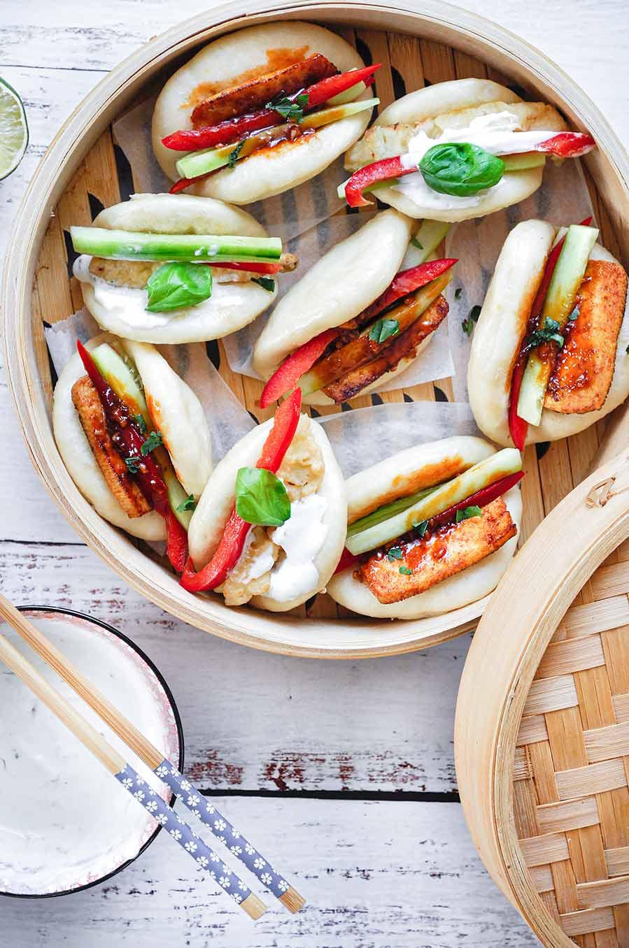 Wegetariańskie bułeczki bao z tofu